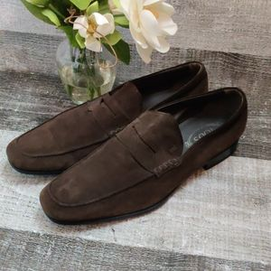 TOD'S brown suede penny loafer driving shoes